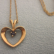 """SALE Sweet Vintage 14K and Sapphire Heart Pendant With 14K 18"""" Chain"""