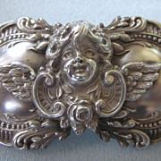 SALE Ornate Sterling Silver Cherub Putti Large Brooch
