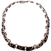 "SALE Stunning Vintage Taxco Sterling Silver and Inlaid 16"" Choker Necklace, 68.8 Grams!"
