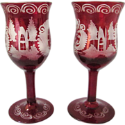 SOLD Old Bohemian Deep Ruby Cut to Clear Pair of Stemmed Cordial Glasses