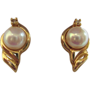 SALE Estate 14K Gold, Cultured 6mm Pearl and Diamond Accent Pierced Earrings
