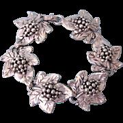 "SALE Lush Vintage Sterling Silver Leaves and Grapes 7"" Bracelet, 31.1 Grams"
