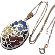 "SALE Vintage Sterling and Floral Enamel Reversible Locket With Complementary 18"" Sterling"