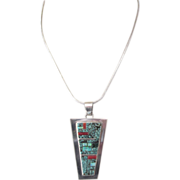 "SALE Sleek Navajo Signed TF Sterling and Gemstone Inlaid Pendant With 20"" Sterling Chain,"