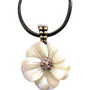 SALE Sterling and Carved Mother of Pearl Floral Pendant With Complementary Cord With Sterling