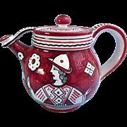 SALE Vintage Etrusca Deruta Teapot, Burgundy and White