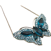 "SALE Dazzling Sterling and Blue Crystal Rhinestone Butterfly Pendant Necklace, 19"" Sterli"