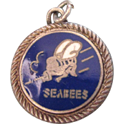 SALE Vintage Sterling Silver Enamel Seabees Charm or Pendant