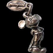 SALE Vintage Disneyland Mickey Mouse, Walt Disney Productions, Sterling Silver 3-D Charm