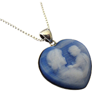 SALE Sterling and Satin Glass Cameo Mother and Child Heart Pendant Necklace