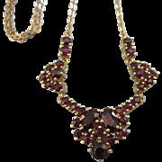 """SALE Romantic Bohemian Cut Garnet Gold Filled 16"""" Vintage Necklace"""