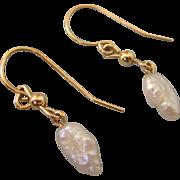 SALE Delicate 14K Yellow Gold Freshwater Rice Pearl Dangle Pierced Earrings