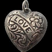 SALE Vintage Sterling Floral Repousse Heart 'Love' Charm Pendant