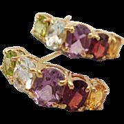 Heavenly Estate 14K Gold Multi Gemstone Demi Hoop Pierced Earrings