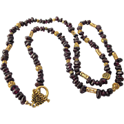 """Vintage Garnet Gemstone and Fancy Gold Plated Bead 27"""" Necklace"""