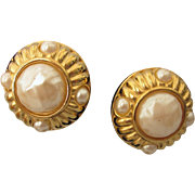 Vintage Signed Givenchy Paris New York Goldtone and Faux Pearl Bold Clip Back Earrings