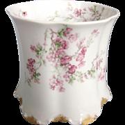 Haviland Limoges White and Pink Floral Spooner Vase Planter