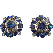 Vintage Signed Weiss Cobalt Rhinestone and Enamel Clip Back Cluster Earrings