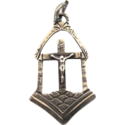 Vintage Sterling Silver Religious Charm With Crucifix, INRI