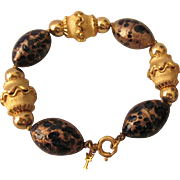 Crown Trifari Gold Fluss Glass Bead Chunky Goldtone Bracelet
