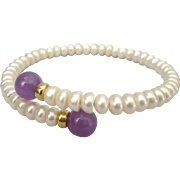 Freshwater Button Pearl and Amethyst Gemstone Bypass Bracelet, Small Size