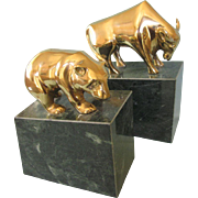 Vintage Bull and Bear Marble and Brass Bookends