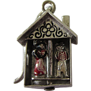 Scarce Walter Lampl Weather House Sterling and Enamel Mechanical Moveable Charm
