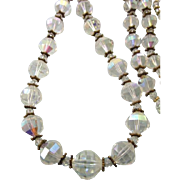 """Vintage 38"""" Faceted Crystal and Rhinestone Rondelle Graduated Bead Necklace"""