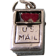 Whimsical Sterling Enamel 3-D Mechanical Mailbox Charm With Red Hearts - Vintage