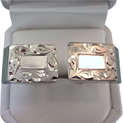 Elegant Signed Sterling Cuff Links With Etched Detailing, 21 Grams