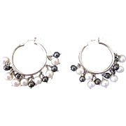 Sterling Silver and White Freshwater Pearl Dangle Hoop Pierced Earrings With Charcoal Bead ...