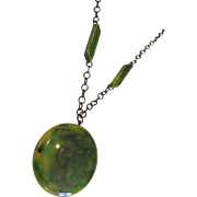 Vintage Green Marbled Bakelite Large Pendant Necklace With Black Metal Chain