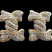 Signed Swarovski Crystal Pave Knot Clip Back Earrings, Swan Mark