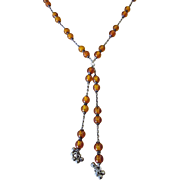 Vintage Sterling and Amber Bead Y Necklace, Dangles Tassels