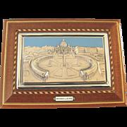Ornate Italian Souvenir Jewelry Box With Key, Inlaid Wood, Enamel and Metal