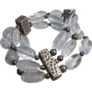 Sterling silver and Genuine Rock Crystal Bead Three Row Chunky Bracelet