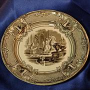 Podmore Walker Brown Transferware Plate - Minerva - 1800s