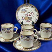 Set of Four Transfer Cups and Saucers - Aesthetic Period - Furnival 1879