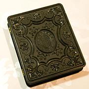 Beautiful Large Gutta Percha Case 1/4 Plate Union Case - Tintype Daguerreotype