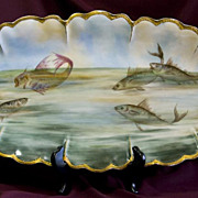 SALE Huge Hand-Painted Haviland Limoges Fish Platter - 24 inches