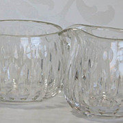 Hawkes Crystal Creamer and Sugar - St. George Pattern - Signed