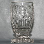 SOLD EAPG Flint Glass Spill Holder or Spooner - Pointed Ellipse with Thick Petal Base