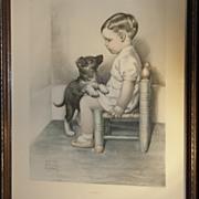 Original 'Sympathy' Print by Bessie Pease Gutmann - Little Boy Sitting in Corner with Puppy