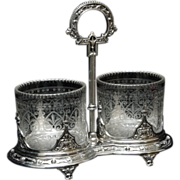 Sheffield Silverplate Condiment Set by William Padley & Son - Wheel Engraved - Victorian Era