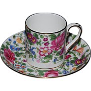 Crown Staffordshire Demitasse Cup and Saucer - Garden Theme - 1913