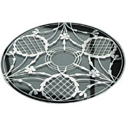 Substantial Glass Tray with Sterling Overlay - 12""