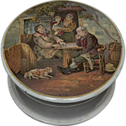 Prattware Pot Lid with Base Titled 'A. Fix' - ca. 1865