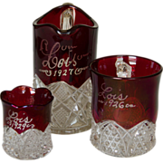 SOLD Set of Three 'Lois' Ruby Stain Cup, Pitcher and Toothpick Holder 1926, 1927 and 1929