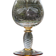 SOLD Bohemian Etched Wine Glass - Twisted Stem