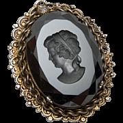 Large Black Glass Cameo Intaglio Pin or Pendant